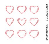 heart linear icons  love symbol ... | Shutterstock .eps vector #1265272285