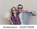 portrait of two nice attractive ... | Shutterstock . vector #1265274058