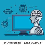 robotic profile artificial... | Shutterstock .eps vector #1265303935