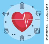 heart cardiology with fitness... | Shutterstock .eps vector #1265305345