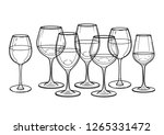 graphic row of wine glasses.... | Shutterstock .eps vector #1265331472