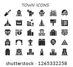 town icon set. 30 filled town... | Shutterstock .eps vector #1265332258