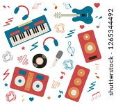 musical instruments for music... | Shutterstock .eps vector #1265344492