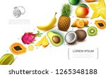 realistic exotic fruits... | Shutterstock .eps vector #1265348188
