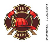 fire department emblem with red ... | Shutterstock .eps vector #1265363545