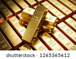 gold bars in bank vault.... | Shutterstock . vector #1265365612