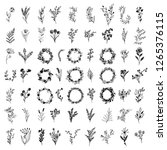 set of floral elements and... | Shutterstock .eps vector #1265376115
