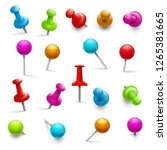 thumbtack. 3d multicolored push ... | Shutterstock .eps vector #1265381665