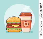 burger and coffee takeaway flat ... | Shutterstock .eps vector #1265388862
