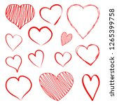 set of red hearts hand drawn.... | Shutterstock .eps vector #1265399758
