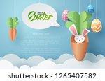paper art of bunny in carrot... | Shutterstock .eps vector #1265407582