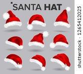 santa hat set vector. santa... | Shutterstock .eps vector #1265412025