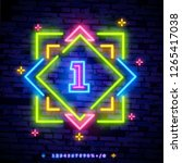 number one symbol neon sign... | Shutterstock .eps vector #1265417038