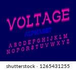 voltage alphabet. pink electric ... | Shutterstock .eps vector #1265431255
