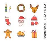set of christmas flat line... | Shutterstock .eps vector #1265443165