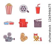 set of cinema flat line icons.... | Shutterstock .eps vector #1265446675