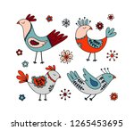 hand drawn dreaming birds and... | Shutterstock .eps vector #1265453695