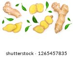 fresh ginger root and slice... | Shutterstock . vector #1265457835