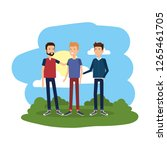 group of men in the camp | Shutterstock .eps vector #1265461705