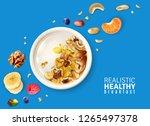 muesli healthy breakfast plate... | Shutterstock .eps vector #1265497378