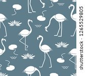seamless pattern with flamingo  ... | Shutterstock .eps vector #1265529805