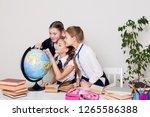 Three girls in the classroom...