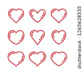 heart linear icons  love symbol ... | Shutterstock .eps vector #1265628535