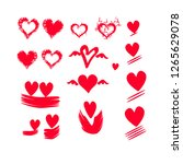hand drawn hearts on isolated... | Shutterstock .eps vector #1265629078