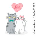 Stock vector cute cats in love 1265631322