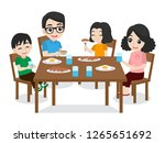 set of cute happy family dad... | Shutterstock .eps vector #1265651692