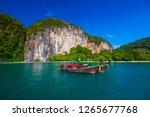long tail boats at koh hong... | Shutterstock . vector #1265677768