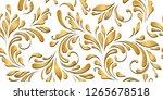 golden flowery pattern. floral... | Shutterstock .eps vector #1265678518