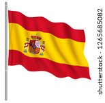 flag of spain with flag pole... | Shutterstock .eps vector #1265685082