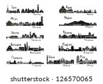 silhouette sights of 11 cities...   Shutterstock .eps vector #126570065