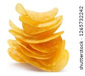 stack of delicious potato chips ... | Shutterstock . vector #1265732242