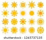yellow sun icon. orange weather ... | Shutterstock .eps vector #1265737135