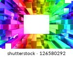 Rainbow Of Colorful Blocks Wit...