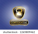gold emblem or badge with... | Shutterstock .eps vector #1265809462