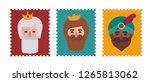 funny stamps with the faces of... | Shutterstock .eps vector #1265813062