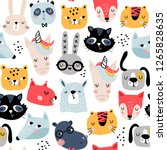 seamless childish pattern with... | Shutterstock .eps vector #1265828635