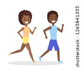 couple of jogger run together.... | Shutterstock .eps vector #1265841355