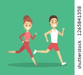 couple of jogger run together.... | Shutterstock .eps vector #1265841358