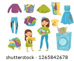 flat vector set of laundry... | Shutterstock .eps vector #1265842678