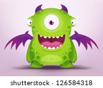 cute cartoon monster | Shutterstock .eps vector #126584318