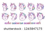 numbers with cute unicorns... | Shutterstock .eps vector #1265847175