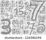 hand drawn numbers paper grid background on white paper sheet - stock photo
