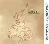 old uk counties map with... | Shutterstock .eps vector #1265861968