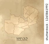 old zambia map with vintage... | Shutterstock .eps vector #1265861992