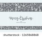 merry christmas with decorative ... | Shutterstock . vector #1265868868