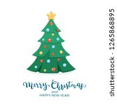 holiday card. christmas tree... | Shutterstock . vector #1265868895